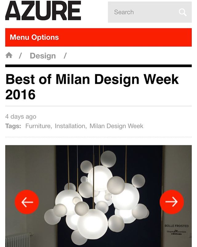 The Azure magazine team has deemed our exhibit at Milan Design week as being among the top 50!!! Thanks @azuremagazine see you in New York for the ICFF