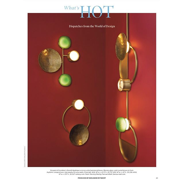 """Thank you @elledecor to have chosen our wall lamp for the """"What's Hot""""  Section by @aspoonfulofbenjamin"""