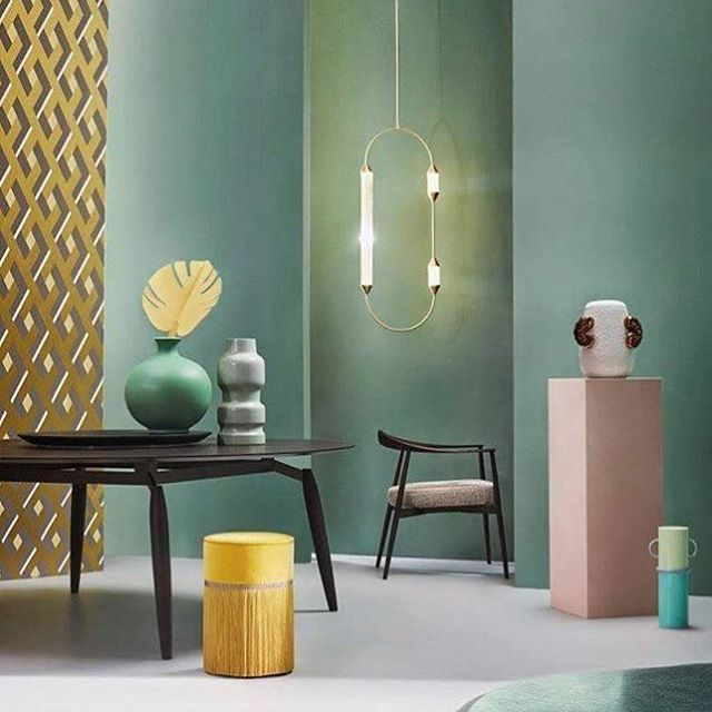 We love this colour palette! Our •Cirque Lamp• in the scene curated by @studiosalaris @Omarsartori for @livingcorriere  ・・・ tks to: @lorenzabozzolini @Flou @Altreforme @giopatocoombes @sacho