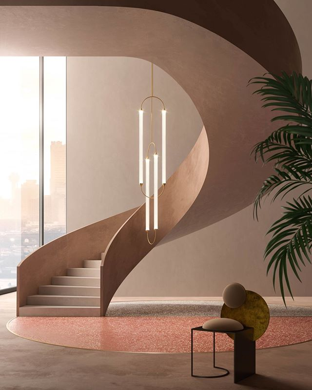 Our design team has designed a custom Cirque lamp to exalt this magnificent staircase  . . .